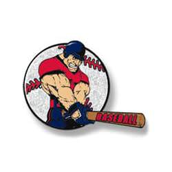 Muscle man swinging bat - red shirt, silver baseball background