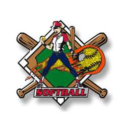 Softball girl with flaming ball - red sleeves, at and lettering