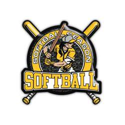 Black with yellow glitter, female softball player