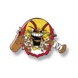 Angry baseball mascot crunching baseball bat, yellow glitter