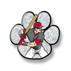 Male baseball player, white glitter paw background
