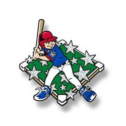 Trading pin with young boy baseball player with blue uniform, white glitter stars