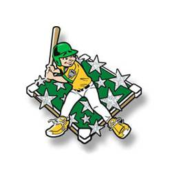 Trading pin with young boy baseball player with yellow uniform, white glitter stars