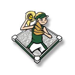 Trading pin with young girl throwing softball in a green uniform, white glitter field background