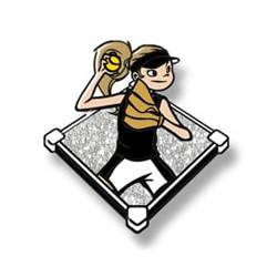 Trading pin with young girl throwing softball in a black uniform, white glitter field background