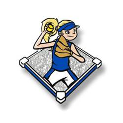 Trading pin with young girl throwing softball in a blue uniform, white glitter field background