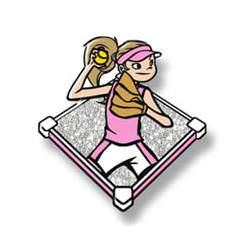 Trading pin with young girl throwing softball in a pink uniform, white glitter field background