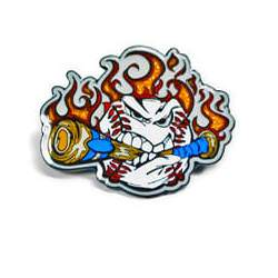 Trading pin with an angry white baseball chewing a blue bat, flames in the background