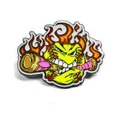 Trading pin with an angry yellow baseball chewing a pink bat, flames in the background